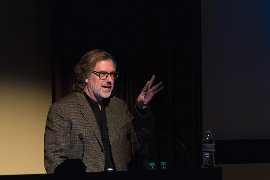 Seven-time Oscar winner Gary Rydstrom speaks to NU students and faculty about the importance of sound in storytelling. Rydstrom has created sound for movies such as Titanic and Jurassic Park.