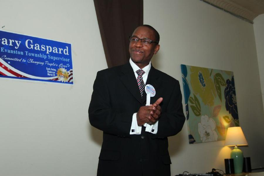 Former Evanston Township supervisor Gary Gaspard speaks at a campaign event while running for the position. Gaspard announced his candidacy for mayor on Friday.