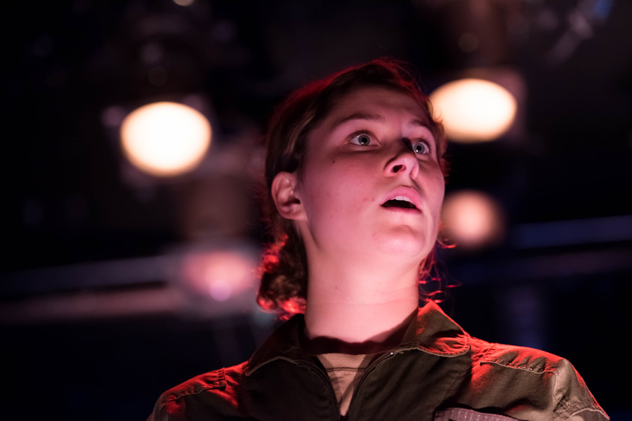 """Performers rehearse for the upcoming production of """"Grounded."""" The Jewish Theatre Ensemble's fall mainstage production opens Thursday in Shanley Pavilion."""
