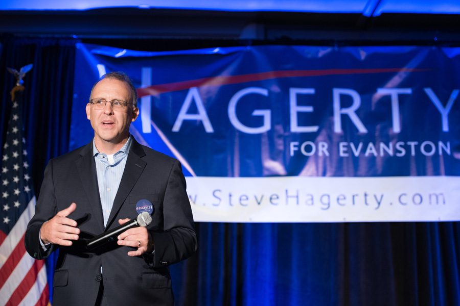 Mayoral+candidate+Steve+Hagerty+at+his+campaign+kick-off+event+Tuesday+night.+Hagerty+is+joined+in+the+race+by+three+other+candidates.+