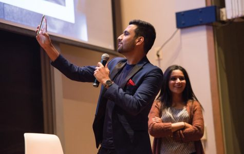 YouTuber Zaid Ali speaks to students Friday night during a Muslim-cultural Students Association event. Ali performed skits and quoted well-known lines from his most popular YouTube videos.