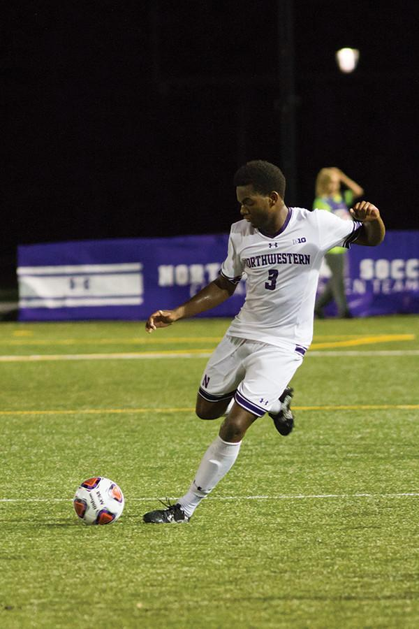 Andrew McLeod sends the ball downfield. The freshman defender will look to help solidify Northwestern's back line in a matchup with UIC on Tuesday.