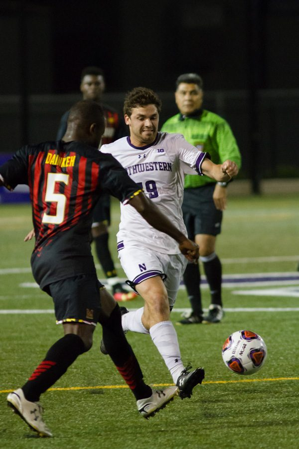 Jeffrey+Hopson+goes+for+the+ball.+The+senior+midfielder+and+the+rest+of+Northwestern+couldn%E2%80%99t+find+the+net+and+suffered+another+loss+at+UCF+on+Wednesday.