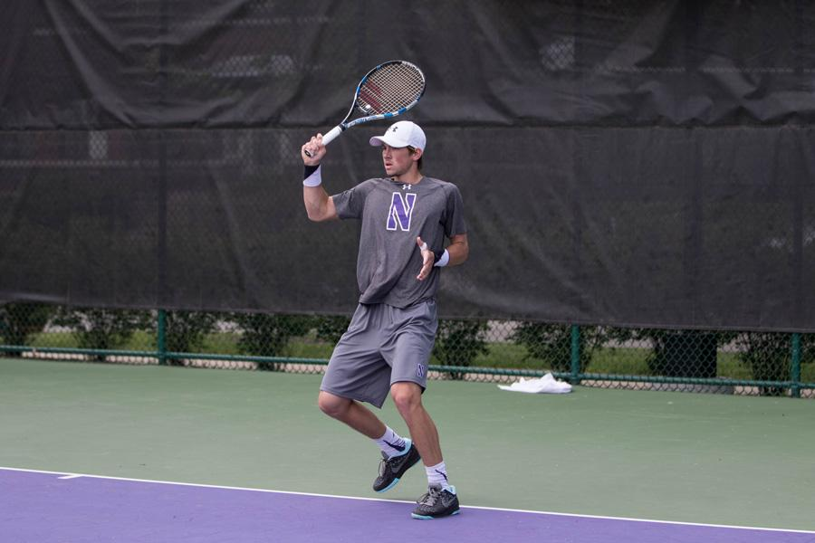 Strong Kirchheimer hits a forehand return. The senior won the ITA Midwest Regionals final in straight sets to capture the individual title and qualify for the ITA National Indoor Championships.