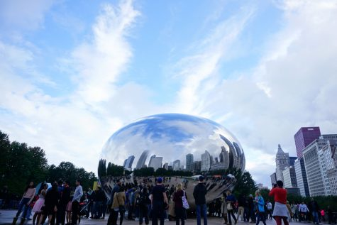 Northwestern freshmen and transfer students visit the Bean in Chicago on Saturday. The students went downtown with their Peer Advisers to explore the city.