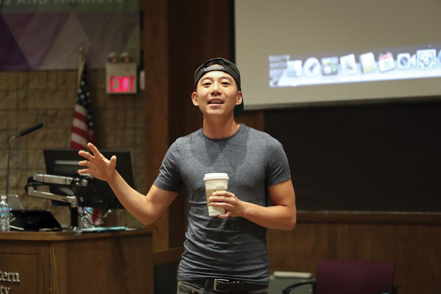 YouTuber and hip-hop musician Dan Matthews talks about his experiences as a Korean adopted by American parents. The talk was hosted by the Korean American Student Association and Asian Pacific American Coalition for Korea Peace Day.