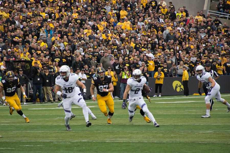 Flynn Nagel returns a punt during Northwestern's Oct. 1 game at Iowa. The sophomore's return set up the Wildcats at the opposing five-yard line, leading to an early touchdown.