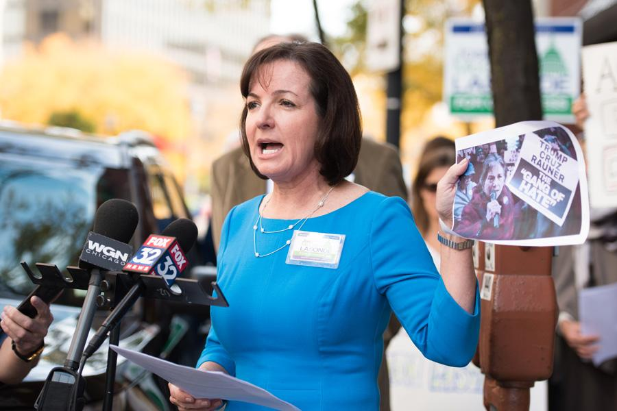 Republican congressional candidate Joan McCarthy Lasonde speaks to supporters and the media outside of the office of Rep. Jan Schakowsky (D-Evanston) at 820 Davis St. Lasonde called on Schakowsky to resign after videos released by Project Veritas Action appear to show Schakowsky's husband talk about voter fraud.