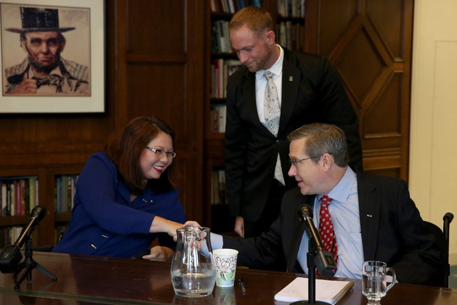 Rep. Tammy Duckworth (D-Ill) and Sen. Mark Kirk (R-Ill) attend a debate last week. Duckworth is gunning for Kirk's senate seat, which he has held since 2010.