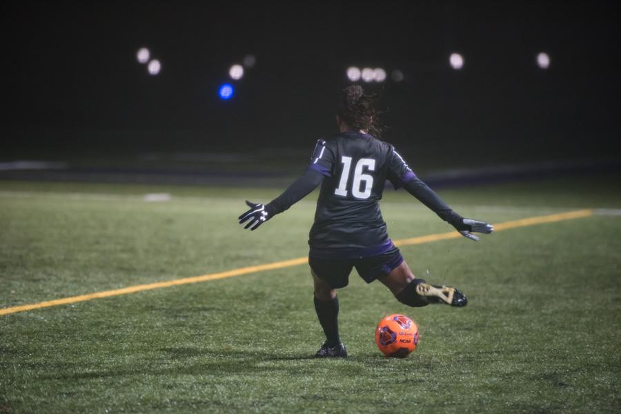 Nandi Mehta takes a free kick. The graduate midfielder helped anchor Northwestern's midfield all season en route to a share of the Big Ten regular season title.