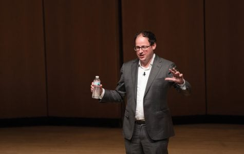"Nate Silver speaks to an audience of roughly 1,000 about data analysis and predictions at the One Book One Northwestern keynote address. Silver's book ""The Signal and the Noise"" was selected as this year's One Book read."