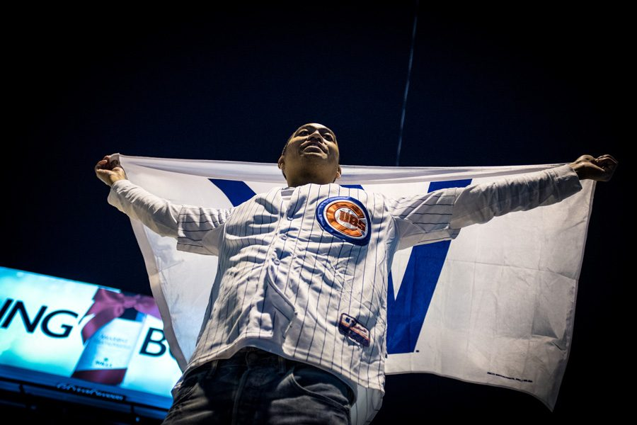 A+Chicago+Cubs+fan+celebrates+after+the+Cubs+clinched+their+first+World+Series+berth+since+1945.+Evanston+is+planning+on+setting+off+the+emergency+alarms+if+the+team+wins+the+World+Series.+