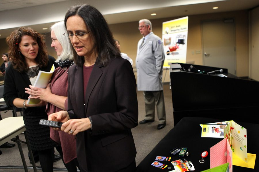 Illinois Attorney General Lisa Madigan holds a press conference in Chicago in 2011. Illinois joined 34 other states in suing a company that makes an opioid treatment drug.