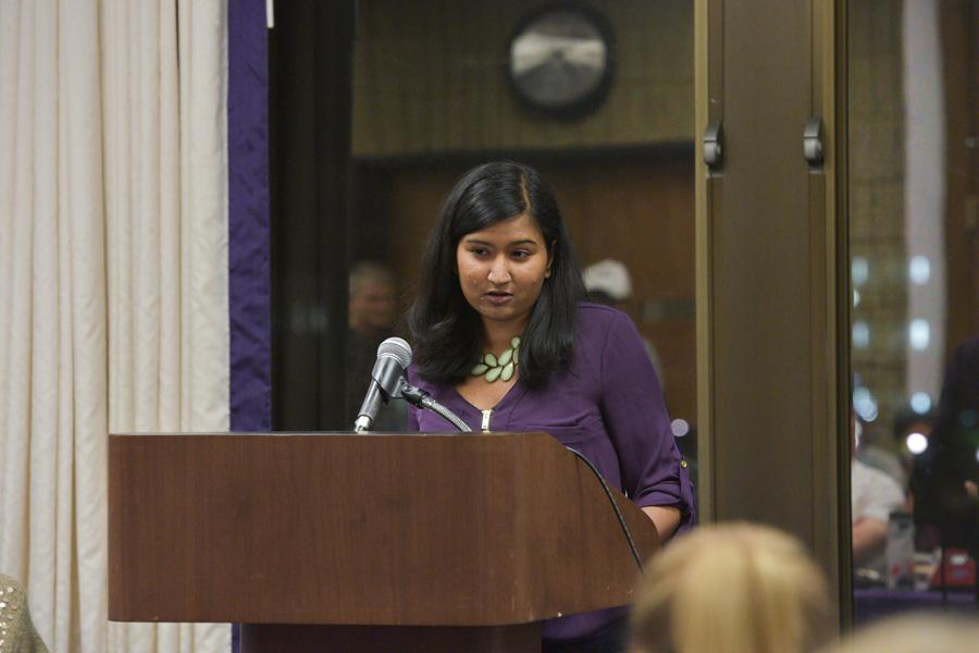 SESP junior Sumaia Masoom speaks during ASG Senate on Wednesday. Masoom stepped down from her position as Associated Student Government co-vice president for student life.