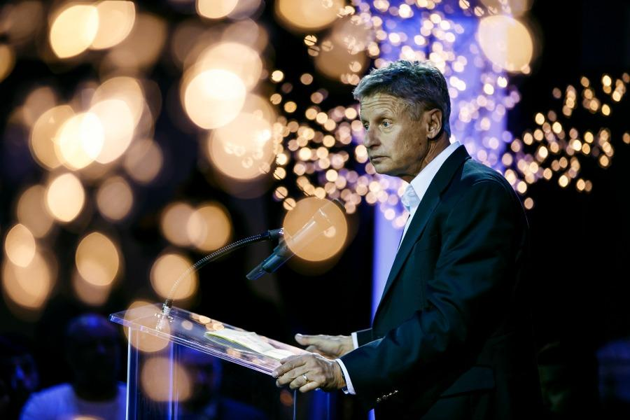 Gary Johnson, the Libertarian candidate for president, speaks at a campaign event in Los Angeles on Wednesday, Oct. 19, 2016. (Marcus Yam/Los Angeles Times/TNS)