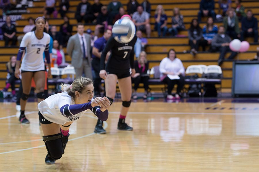 Sarah Johnson lays out for a dig. The freshman libero saw regular playing time for Northwestern this weekend, playing a role in the Wildcats' first Big Ten win on Friday against No. 24 Purdue.