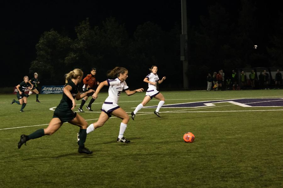 Rachel Zampa dribbles up the field. The senior midfielder and NU could win the Big Ten regular season title outright with a win against Illinois on Wednesday.
