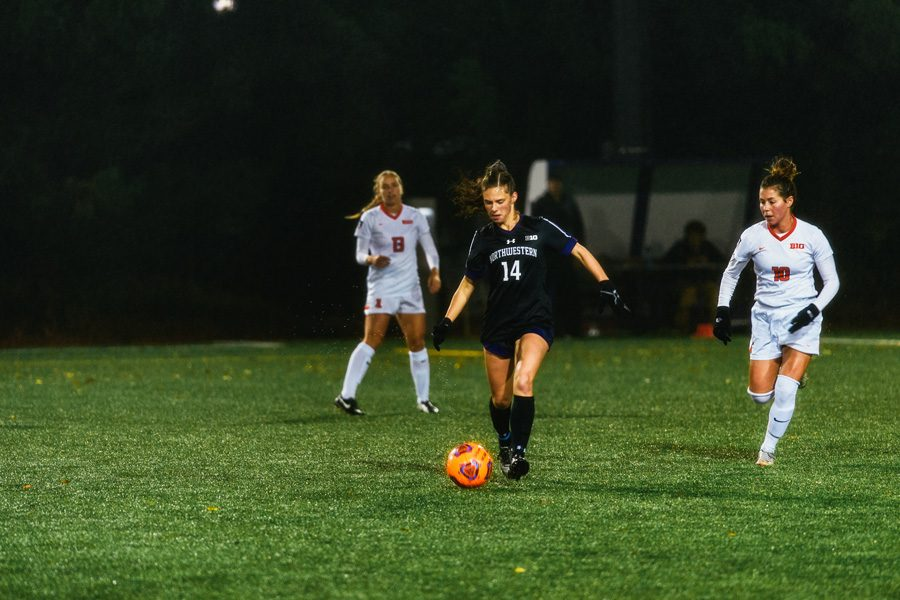 Marisa+Viggiano+controls+the+ball.+The+sophomore+midfielder+scored+the+deciding+penalty-kick+shootout+goal+for+Northwestern+as+it+topped+Nebraska+in+the+first+round+of+the+Big+Ten+Tournament.+