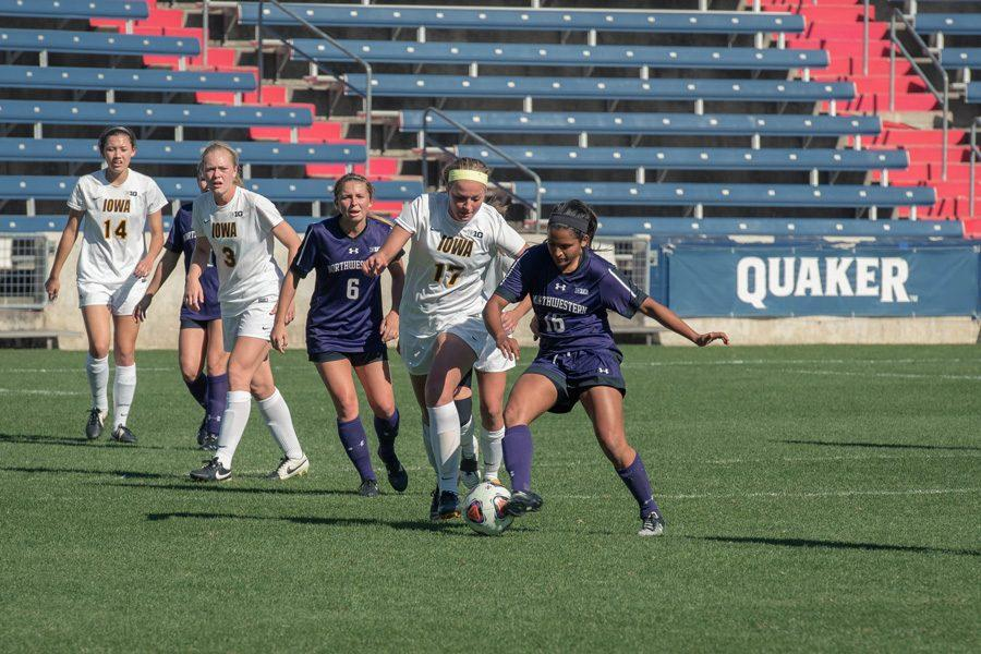 Nandi Mehta battles for the ball. The graduate midfielder will lead Northwestern into a home matchup with Michigan State on Thursday.