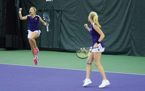 Alex Chatt and Maddie Lipp celebrate. The duo dropped out in the semifinals of the doubles main draw ITA All-American Championships on Saturday.
