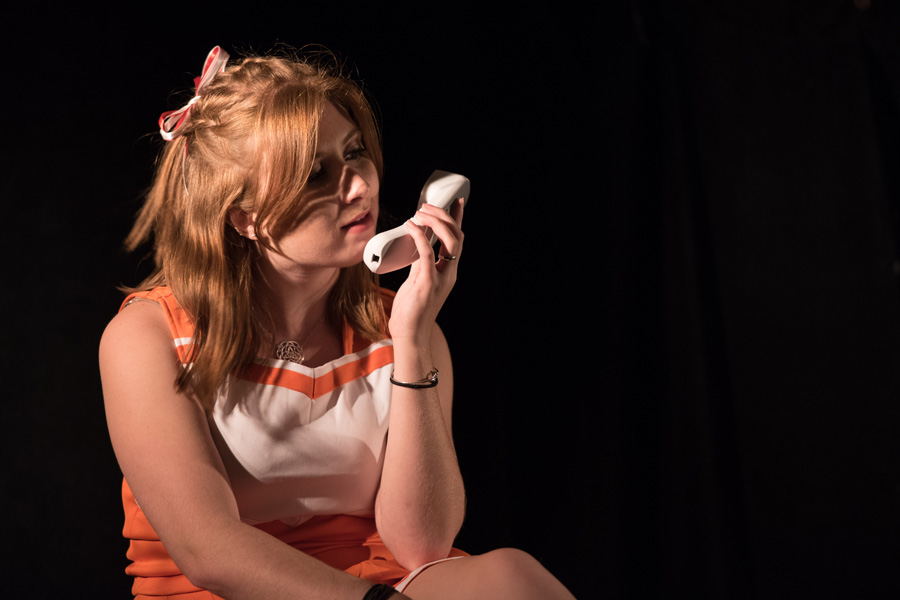 "Communication senior Marin Nass stars as Leslie in Lipstick Theatre's fall mainstage production. ""Be Aggressive"" premieres Thursday in Shanley Pavilion."