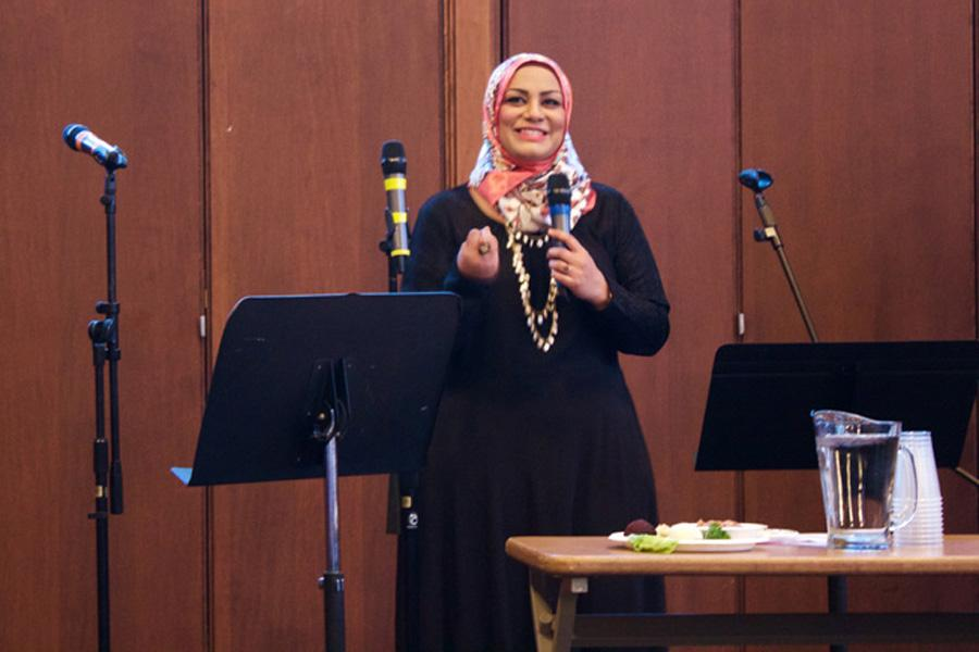 Tahera Ahmad, associate chaplain and director of interfaith engagement, speaks at the Jewish Council on Urban Affairs' annual Freedom and Justice Seder in April. Ahmad was named one of the Muslim-Jewish Advisory Council's first members on Monday.