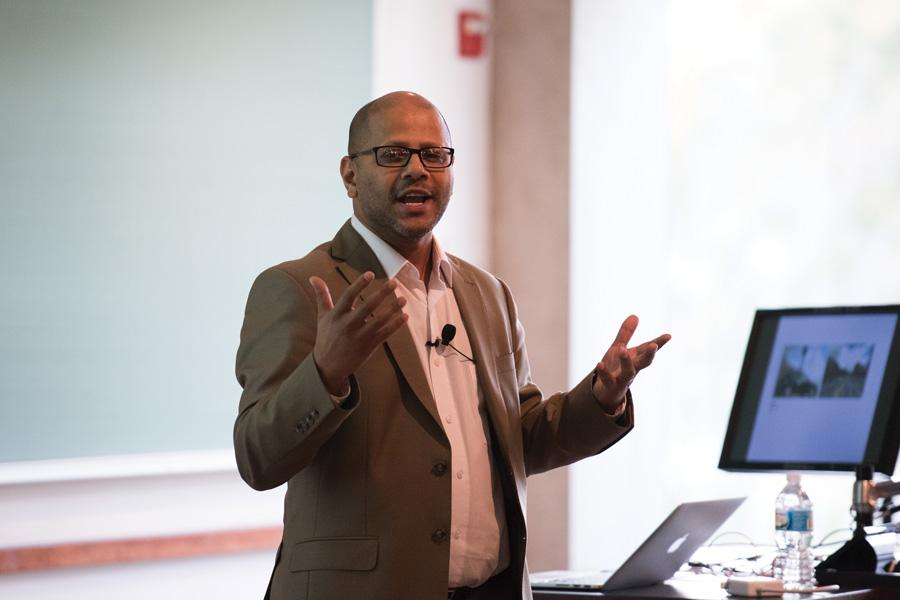 Interdisciplinary artist Hasan Elahi speaks at an event co-hosted by the Block Museum of Art and the McCormick School of Engineering and Applied Science. Elahi discussed the intersection of art and engineering.