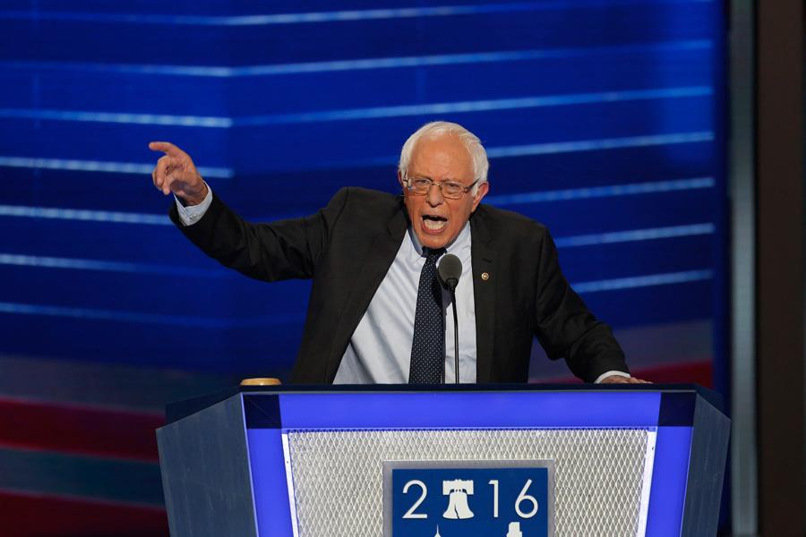 Bernie Sanders speaks passionately on the first night of the Democratic National Convention on July 25 in Philadelphia, Pa. Some Northwestern students are not abandoning their support of Sanders even though he did not win the Democratic nomination.
