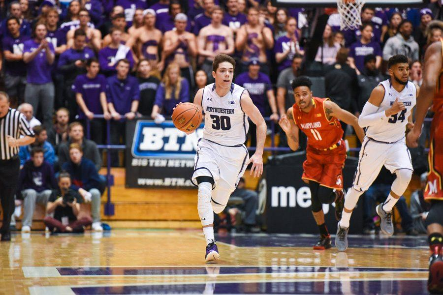 Bryant+McIntosh+pushes+the+ball.+The+junior+guard+will+be+expected+to+take+a+leading+role+for+Northwestern+this+season.