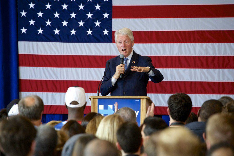 Bill Clinton speaks at the Beth Emet Synagogue, 1224 Dempster St., at a campaign event for his wife Hillary Clinton.