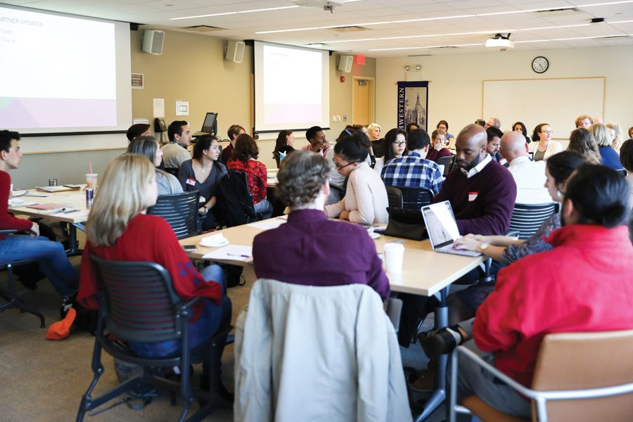 Students+gather+at+Searle+Hall+on+Tuesday+for+the+Campus+Coalition+on+Sexual+Violence%E2%80%99s+fall+meeting.+Members+of+SHAPE%2C+CARE%2C+MARS+and+other+groups+presented+updates+at+the+meeting.
