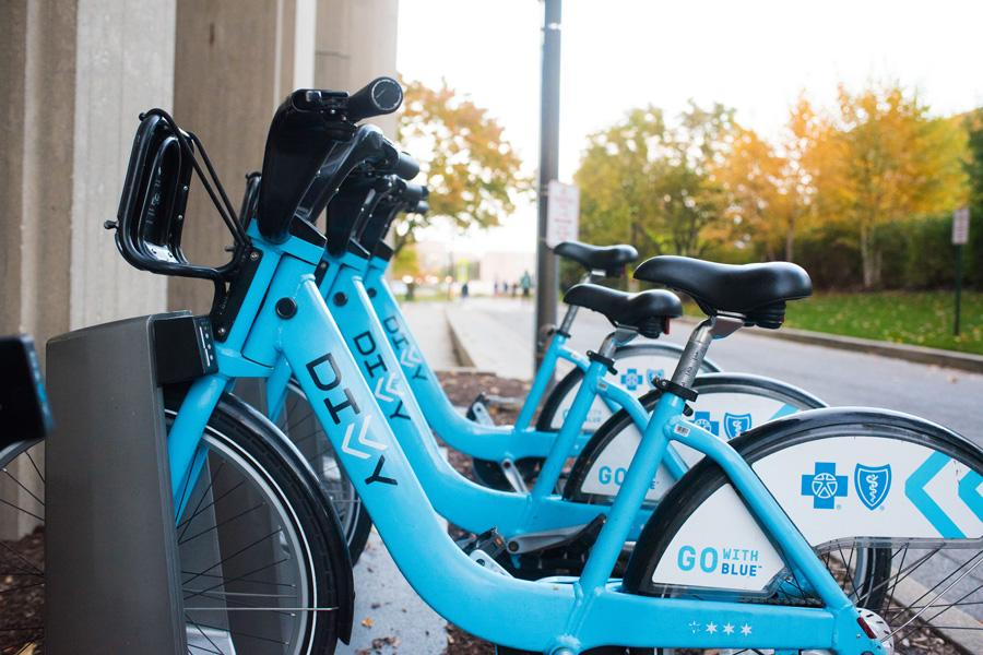 One of the ten existing Divvy bike stations in Evanston is outside Norris University Center. City staff included funding for an additional station to be constructed near the Dempster CTA station.