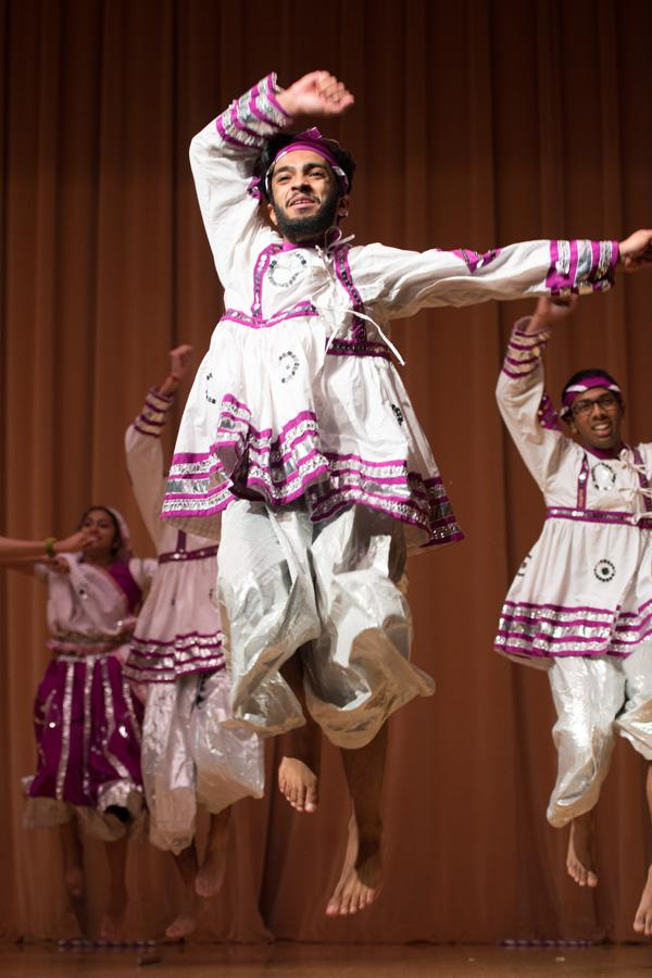 Students perform at DiwaliFest on Saturday. The festival of lights celebration was hosted by the South Asian Student Alliance and featured dance and music performances.
