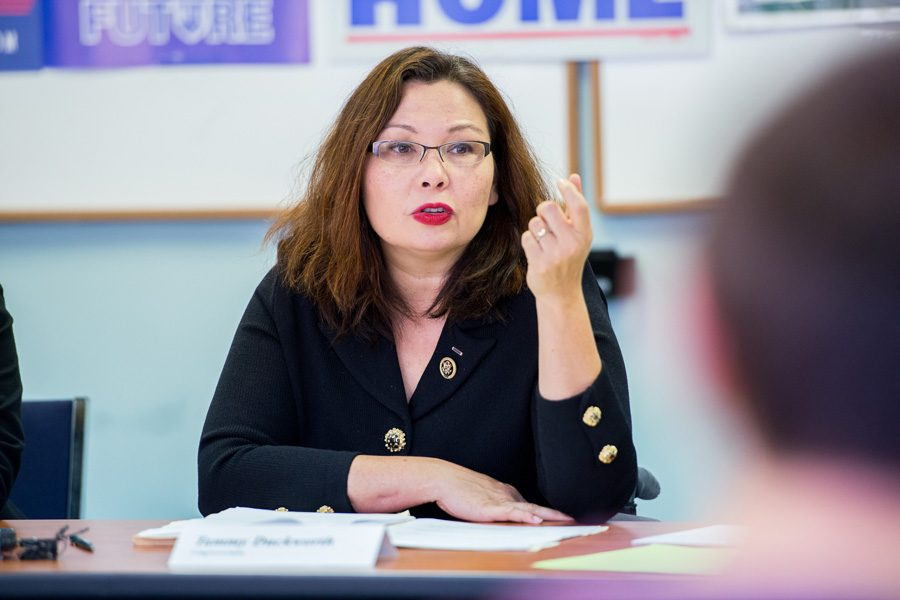 Rep. Tammy Duckworth (D-Ill) at a campaign event in October. Duckworth ousted opponent Sen. Mark Kirk (R-Ill) in the general election on Tuesday.