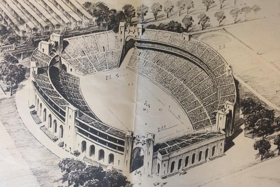 A proposed mockup of a three-deck Northwestern football stadium. The Wildcats were national title contenders in 1926, 1930 and 1931.