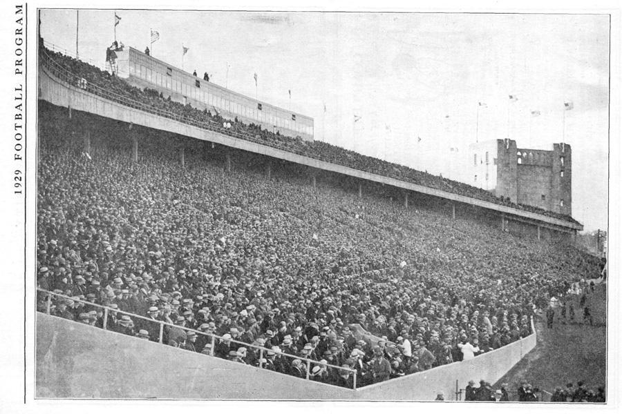 Fans watch a Northwestern football game in the 1920s. The proposed stadium would have seated around 80,000 people.