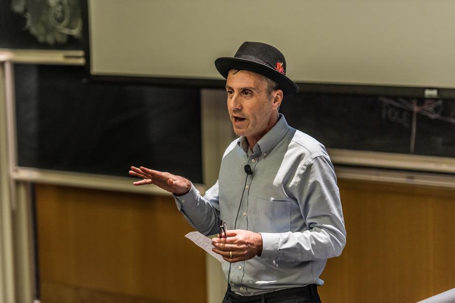 Purdue University Prof. David Sanders, chair of the school's Faculty Senate, speaks at Faculty Senate on Wednesday. Sanders encouraged senators to continue their work at Northwestern.