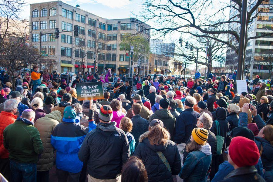 A+crowd+of+around+200+Evanston+residents+and+faith+community+members+met+at+Fountain+Square+on+Sunday+afternoon.+The+event+was+organized+to+show+solidarity+with+those+in+the+city+feeling+marginalized+after+the+recent+presidential+election.+