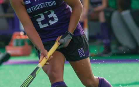Isabel Flens controls the ball. The senior forward received a yellow card at the end of regulation in Northwestern's game against Maryland, giving the Terrapins a one-player advantage that they capitalized on early in overtime.