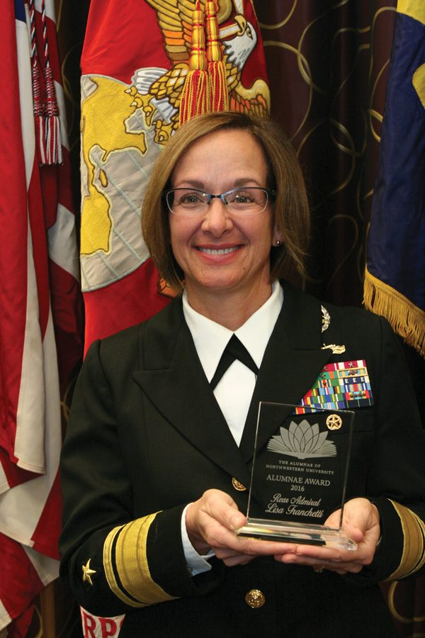 Rear+Adm.+Lisa+Franchetti+%28Medill+%E2%80%9885%29+holds+her+Alumnae+Award%2C+which+she+received+in+October.+Franchetti+is+one+of+fewer+than+40+women+to+become+an+admiral+in+the+U.S.+Navy.+%0A