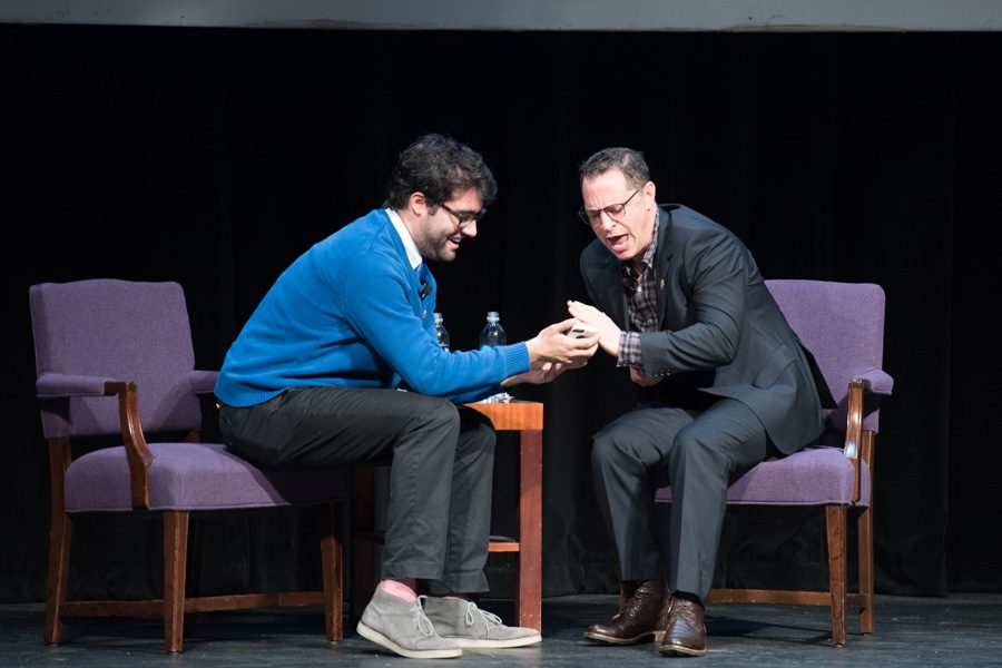 """""""Scandal"""" star Joshua Malina and Communication senior Harry Wood act out a fanfiction dialogue during Fiedler Hillel's fall celebrity speaker event. Malina discussed his career as a Jewish actor and the upcoming election."""
