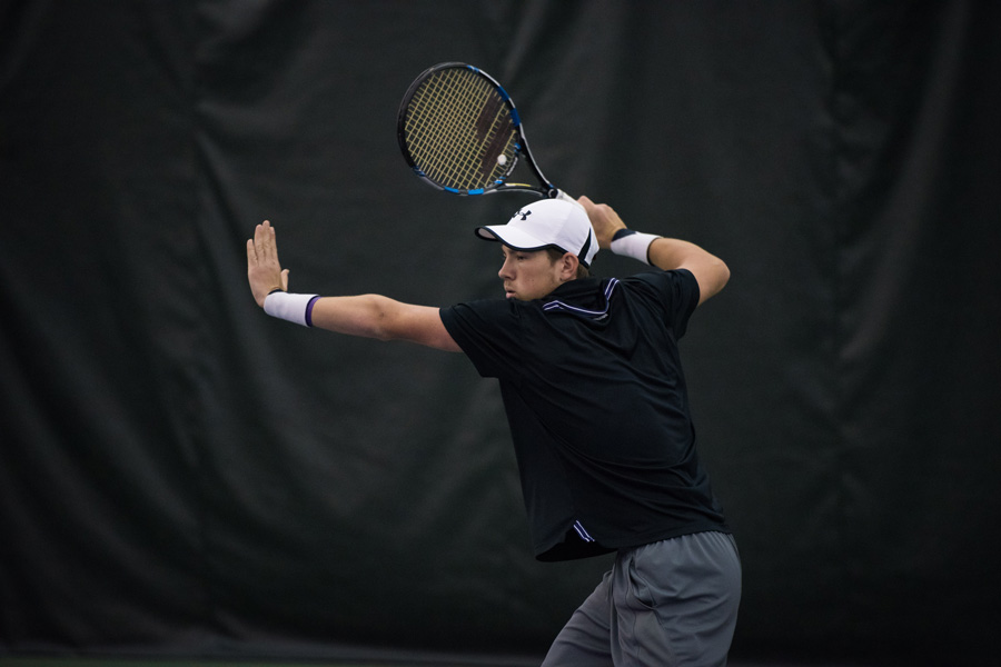 Strong Kirchheimer winds up for a forehand. The senior lost his opening match at the ITA National Indoor Championships.