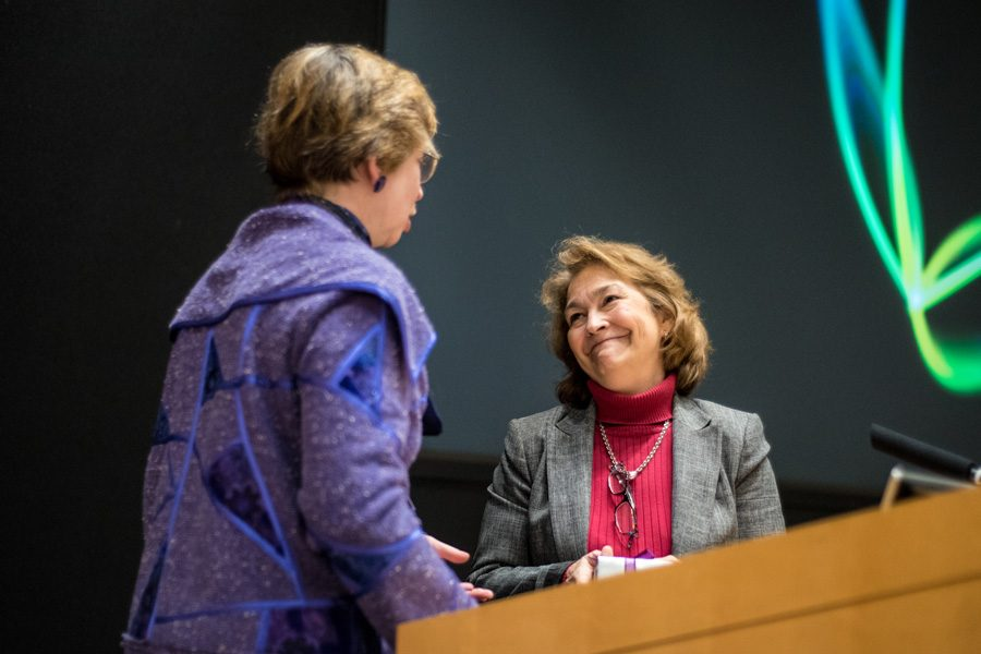 Northwestern alumna Terry O'Neill and dean of libraries Sarah Pritchard address gender equality in the McCormick Foundation Center. O'Neill, president of the National Organization for Women, discussed intersectional feminism and president-elect Donald Trump on Wednesday evening.