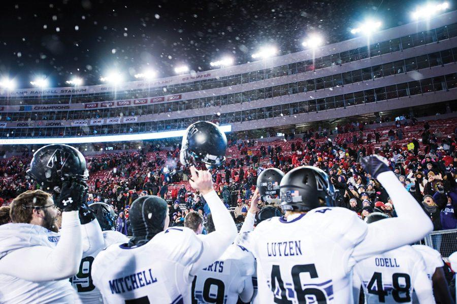 Northwestern celebrates after defeating Wisconsin in 2015. The Badgers have not won at Ryan Field since 1999.