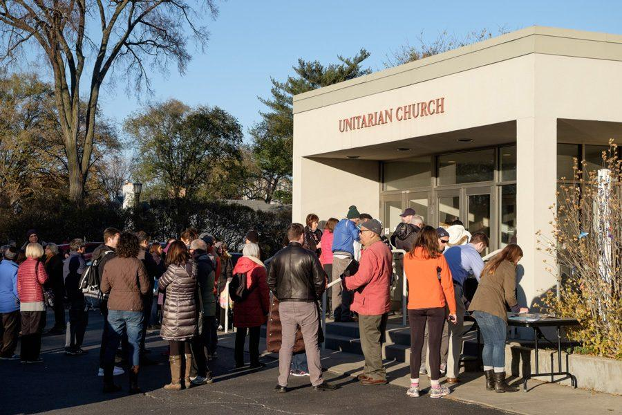 A crowd waits outside the Unitarian Church of Evanston, 1330 Ridge Ave., Sunday afternoon. Several Democratic leaders, including U.S. Rep. Jan Schakowsky and State Sen. Daniel Biss held a post-election meeting to discuss the future of the Democratic party under a Trump presidency.