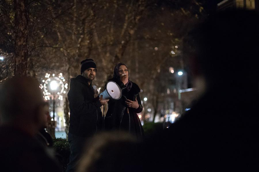 Northwestern associate chaplain Tahera Ahmad speaks in front of Evanston Public Library on Tuesday. Ahmad was one of several people who spoke at the rally, which was organized to denounce hate after several Islamic books were defaced at the library last week.
