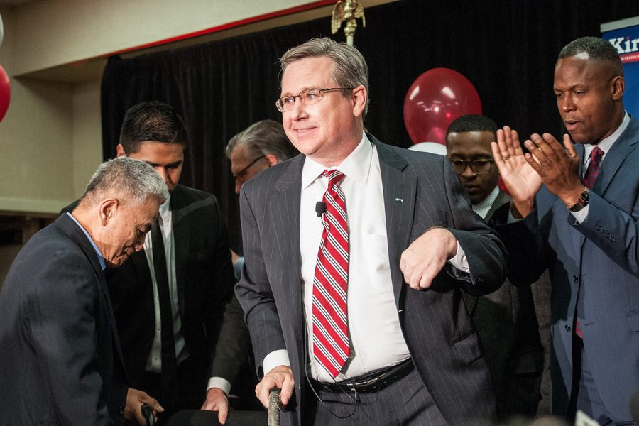 Sen.+Mark+Kirk+%28R-Ill%29+greets+supporters+Tuesday+night.+Kirk+urged+for+unity+when+he+conceded+the+election+to+challenger+Rep.+Tammy+Duckworth+%28R-Ill%29.