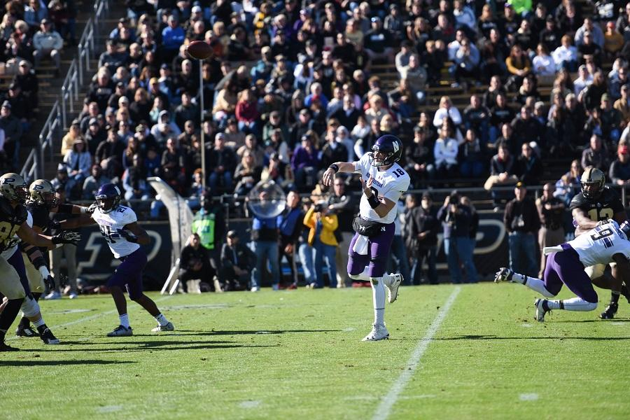 Clayton Thorson throws downfield. The sophomore quarterback set a career high with 352 yards passing in a blowout win over the Boilermakers.