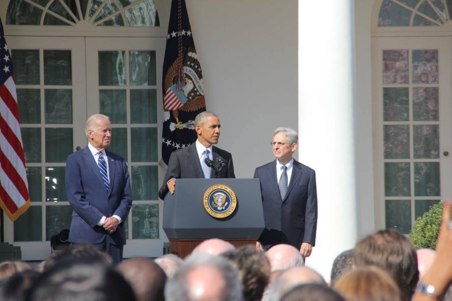 President Barack Obama introduces Judge Merrick Garland as his choice to replace Justice Antonin Scalia in March. Garland's confirmation as a Supreme Court Justice has been a contentious issue this election.