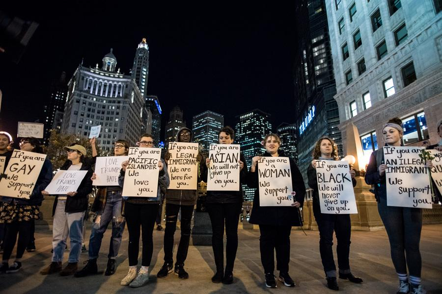 Protesters fill the streets in downtown Chicago. The crowd gathered on Wednesday in response to the results of Tuesday's presidential election.